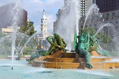 Philadelphia. Pennsylvania. City skyline with Swann Memorial Fountain Stock Photos