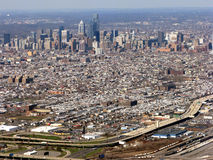Philadelphia Pennsylvania Cityscape Aerial View. Aerial cityscape view of major American city of Philadelphia Pennsylvania showing Downtown Center City Stock Image