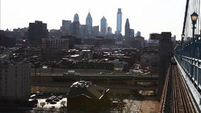 Philadelphia, Pennsylvania cityscape from the Benjamin Franklin Bridge stock footage