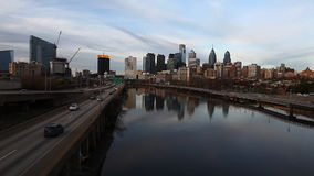 Philadelphia, Pennsylvania cityscape with river in the foreground stock video