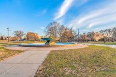 Philadelphia, Pennsylvania, de V.S. - December, 2018 - Mooie mening van Ericsson Fountain in Eakins-Ovaal stock foto