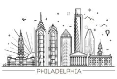 philadelphia Pennsylvania de V.S. Horizon met panorama stock illustratie