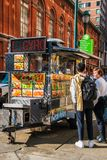 Customers along side a food cart selling Halal food on Broad Street near the Academy of Music royalty free stock photo
