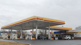 SHELL fuel and gas station. Philadelphia, Pennsylvania, January 28, 2018: Shell fuel and gas station royalty free stock photography