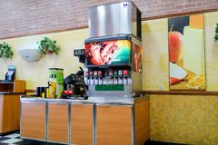 Subway fast food restaurant interior. Subway is an American fast food restaurant franchise that primarily sells submarine sandwich Stock Photography