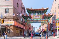 Street view of downtown Philadelphia in PA, USA stock photo