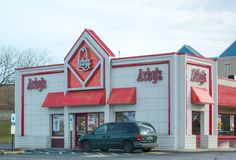 Exterior of Arbys Restaurant location. Arbys is a chain restaurant that serves quick-service fast-food sandwiches at over 3000 loc. Philadelphia, Pennsylvania Royalty Free Stock Photo