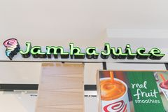 Jamba Juice Business Sign Company Logo on the storefront wall. Philadelphia, Pennsylvania, May 21 2018:Jamba Juice Business Sign Company Logo on the storefront Stock Photography
