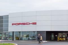 Porsche store front. Philadelphia, Pennsylvania, September 8, 2018:Porsche store. Porsche AG is a German automobile manufacturer specializing in high-performance royalty free stock photos