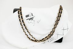 Photo of black Chanel handbag brand Editorial on white background. Philadelphia, Pennsylvania, USA, August 10, 2018: Photo of black Chanel handbag with Chanel royalty free stock images