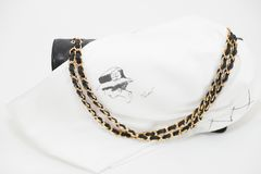 Photo of black Chanel handbag brand Editorial on white background. Philadelphia, Pennsylvania, USA, August 10, 2018: Photo of black Chanel handbag with Chanel royalty free stock photography