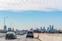 Philadelphia, Pennsylvania, USA - December, 2018 - Arriving in Philly by car from New York with the Classic view of the Skyline royalty free stock images