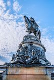 Philadelphia, Pennsylvania, USA - December, 2018 - Washington Monument fountain with George Washington, by Rudolf Siemering, at. Eakins Oval, in front of the royalty free stock photo