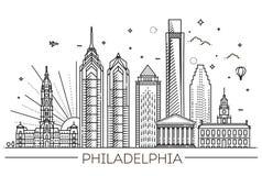 philadelphia Pennsylvania USA Horisont med panorama Royaltyfria Bilder
