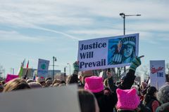 Philadelphia, Pennsylvania, USA - January 20, 2018: Thousands in Philadelphia unite in solidarity with the Women`s March Royalty Free Stock Images