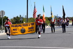 Philadelphia police and Fire Pipe and Drums Stock Images