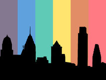 Philadelphia with rainbow flag Royalty Free Stock Photos