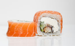 Philadelphia Roll with eel. In the photo Roll Philadelphia with eel on a white background Royalty Free Stock Photos