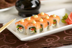 Philadelphia Roll with salmon Stock Photos