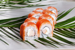 Philadelphia roll with shrimp sushi food on a Stock Photos