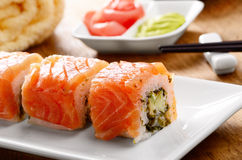 Philadelphia roll sushi on a white plate Royalty Free Stock Photo