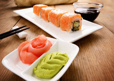 Philadelphia roll sushi on a white plate Royalty Free Stock Image