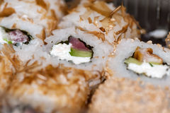 Philadelphia rolls with red fish, cheese and cucumber Royalty Free Stock Photo
