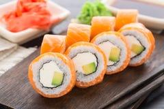 philadelphia rullar sushi Royaltyfri Fotografi