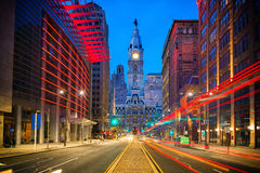 Philadelphia's City Hall at night Stock Images