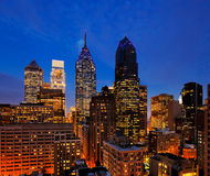 Philadelphia's skyline at dusk Royalty Free Stock Image