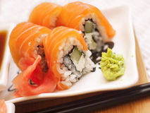 Philadelphia salmon sushi on plate Stock Photos