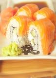 Philadelphia salmon sushi on plate Stock Photo