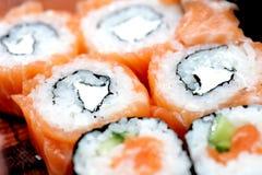 Philadelphia salmon sushi on plate Royalty Free Stock Photos