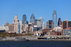 Philadelphia Skyline. Medium view of Philadelphia cityscape and Penn's Landing Stock Images