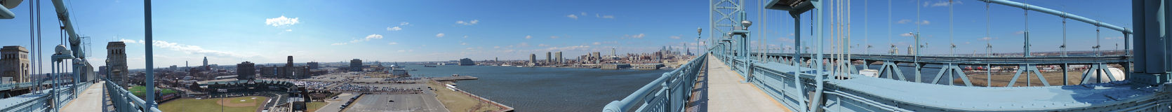Philadelphia skyline with the Ben Franklin Bridge panoramic. The downtown Philadelphia and Camden skylines with the Delaware River as seen from the Ben Franklin Stock Photos
