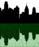 Philadelphia skyline with binary Stock Photo