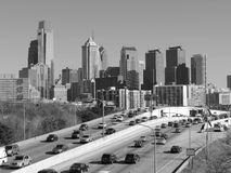 Philadelphia Skyline black and white. The skyline of downtown Philadelphia, Pennsylvania as seen from above the Schuylkill Expressway on a clear day black and Stock Images