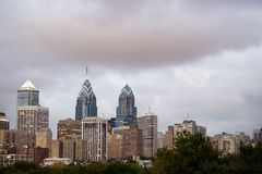 Philadelphia Skyline with Cloudy Sky at Dusk. Philadelphia skyline at dusk with a cloudy sky Royalty Free Stock Photo