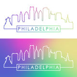 Philadelphia skyline. Colorful linear style. stock illustration