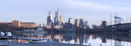 Philadelphia Skyline Daytime Panorama w reflection stock photography
