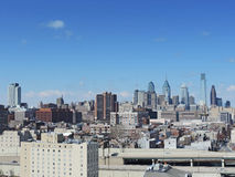Philadelphia skyline. The downtown Philadelphia skyline as seen from the Ben Franklin Bridge Royalty Free Stock Image