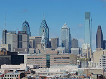 Philadelphia skyline. The downtown Philadelphia skyline as seen from the Ben Franklin Bridge Stock Photos