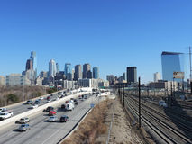 Philadelphia Skyline. The skyline of downtown Philadelphia, Pennsylvania as seen from above the Schuylkill Expressway on a clear day Royalty Free Stock Photography