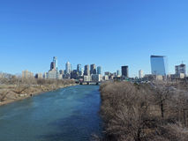 Philadelphia Skyline. The skyline of downtown Philadelphia, Pennsylvania with the Schuylkill River Stock Photos
