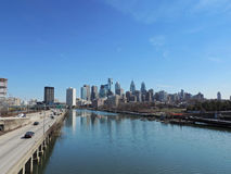 Philadelphia Skyline. The downtown Philadelphia, Pennsylvania skyline with the Schuylkill River and expressway from the south Stock Photos