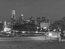 Philadelphia Skyline at Dusk black and white Stock Photography