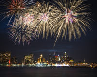 Philadelphia skyline and fireworks Royalty Free Stock Photography