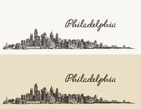Philadelphia skyline hand drawn sketch Vector Royalty Free Stock Photo