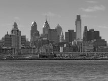 Philadelphia Skyline from New Jersey black and white. The view from Camden New Jersey looking east at the downtown Philadelphia, Pennsylvania skyline in black Royalty Free Stock Images