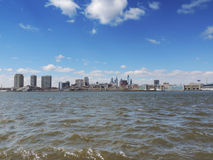 Philadelphia Skyline from New Jersey. The view from Camden New Jersey looking east at the downtown Philadelphia, Pennsylvania skyline Stock Images